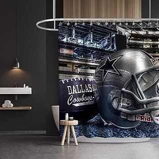 Lifeasy Custom Dallas Cowboys Shower Curtain American Football Helmat Modern Athlete Stadium Fabric Bathroom Decor Set with Hooks Waterproof Washable 72 x 72 inches Blue Grey Black