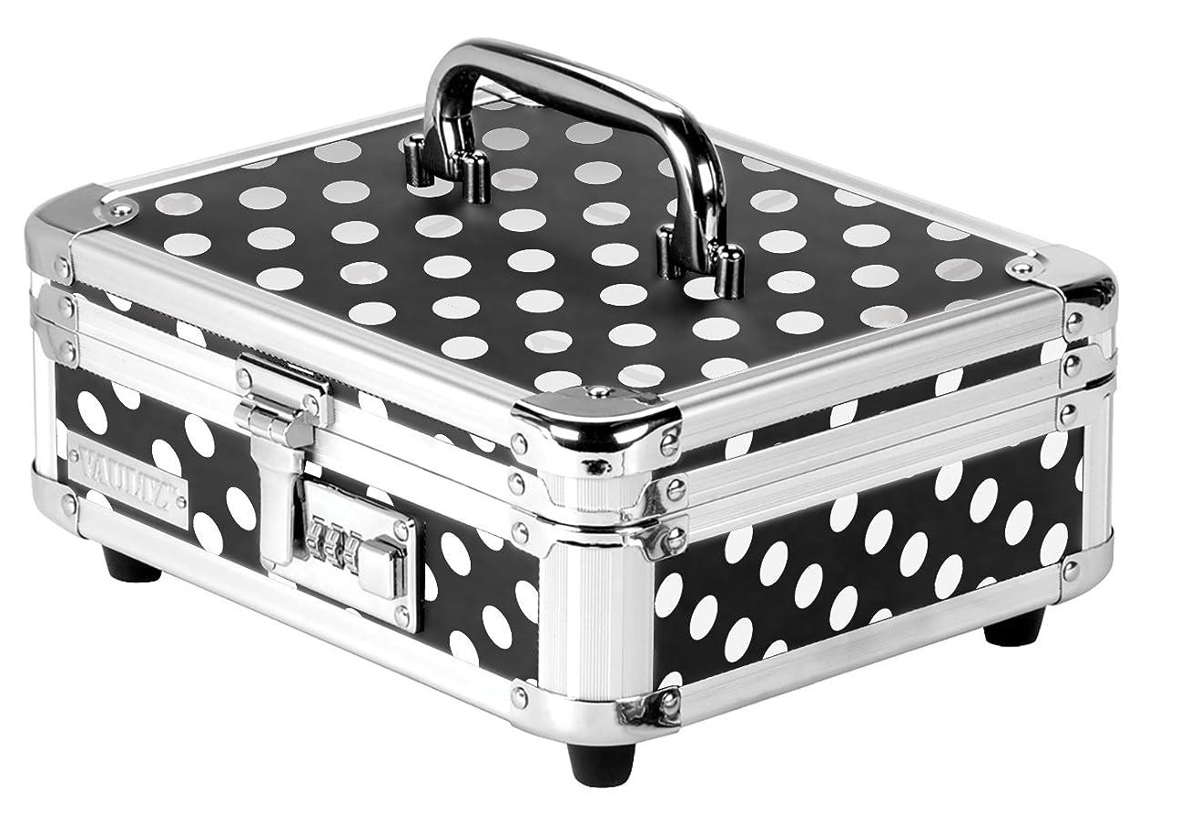 投資脳なに(Black/White Polka Dot) - Vaultz VZ00683 Locking Cash Box with Bill and Coin Tray, Combination Lock, Polka Dot Design, 8.5 x 10cm x 25cm, Black and White