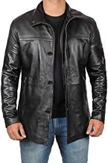 Mens Black Winter Leather Coat - 3/4 Length Leather Jackets for Mens