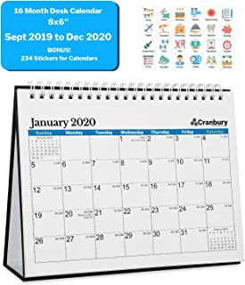 Small Desk Calendar 2020 (8x6, Blue) 16 Months, Use Desktop Calendar from September 2019 to December 2020, Double-Sided Tent Standing Easel Flip Calendar for Table, Counter Top