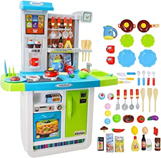 deAO My Little Chef Kitchen Playset with Sounds, Touchscreen Panel and Water Features – More Than 40 Accessories Included