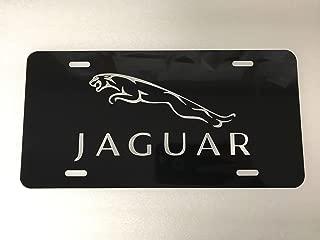Diamond Etched Jaguar Logo Car Tag on Black Aluminum License Plate