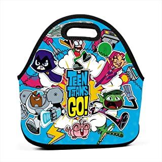 Teen Titans Go Fan Party Anime Poster Insulated Lunch Bag Tote For Adult/Kids - Reusable Soft Neoprene Personalized Lunchbox Handbag For Work/School/Picnic