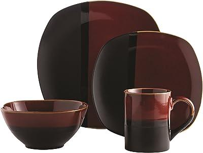 overandback Mirror 16pc Dinnerware Set, Service for 4, Black/Red