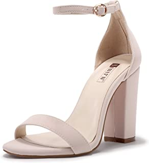 IDIFU Women's Cookie-HI Block High Heels Sandals Chunky Strappy Open Toe Wedding Party Pump Shoes (7.5 M US, Nude Nubuck)