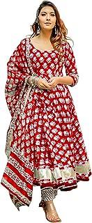 MV Fashion Cotton Printed Kurta/Kurti with Pajama with Dupatta Set for Women's