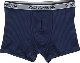 Dolce & Gabbana Men's Navy Blue Cotton Ribbed Boxers Underwear