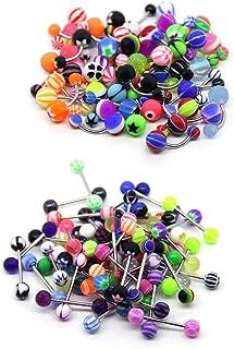 Piercing para ombligo de acero quirúrgico, piercing para lengua, varios colores, para hombres y mujeres (100 unidades)