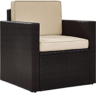 Crosley Furniture KO70088BR-SA Palm Harbor Outdoor Wicker Arm Chair, Brown with Sand Cushions