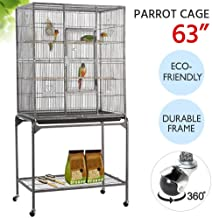 Yaheetech 63'' Wrought Iron Rolling Large Bird Cage for African Grey Small Quaker Amazon Parrots Cockatiels Sun Parakeet Green Cheek Conure Lovebird Budgie Finch Canary Bird Flight Cage with Stand