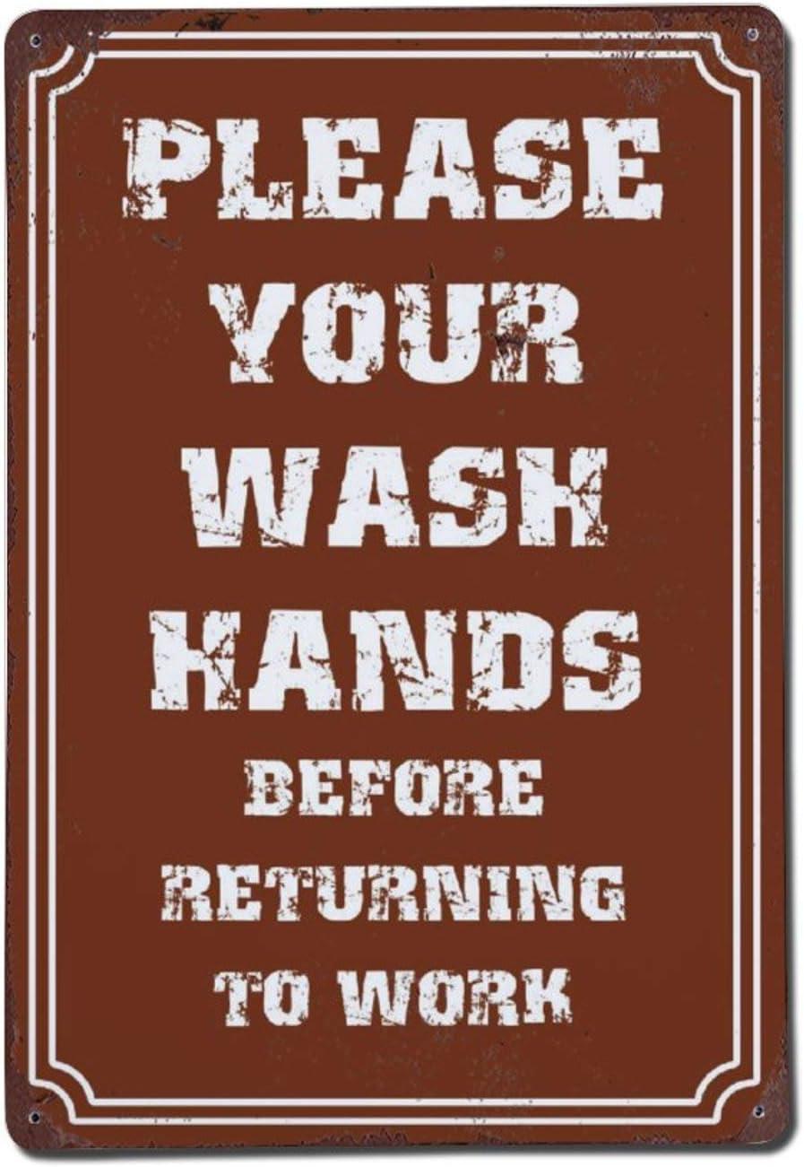 DKISEE Retro overseas Overseas parallel import regular item Metal Sign Please Wash Alumi Novelty Your Hand