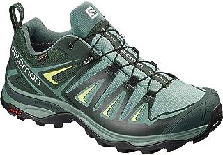 Salomon Women's X Ultra 3 Wide GTX W Hiking Shoe, Artic/Darkest Spruce/Sunny Lime