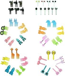 ZCOINS 56 PCS Mini Cartoon Toothpicks for Fruit or Cake Dessert - Cute Little Food Fork Picks for Kids - Bento Box Decor -...