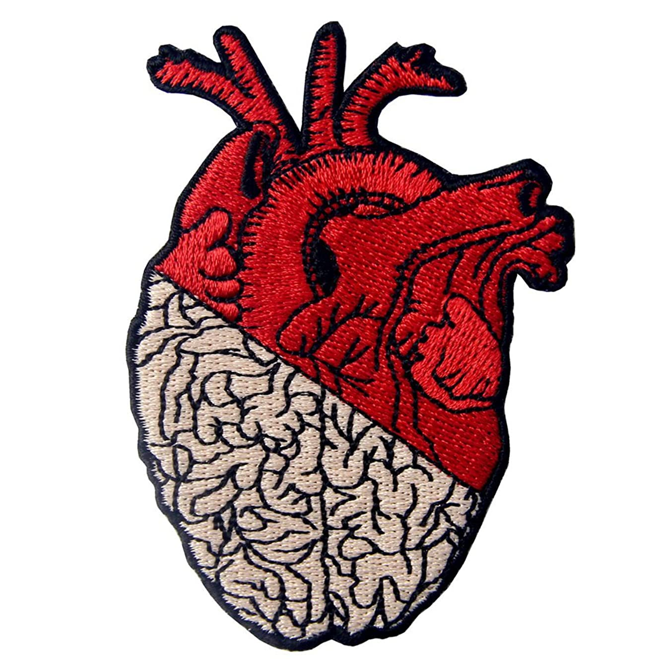 Heart & Brain Patch Embroidered Badge Iron On Sew On Emblem