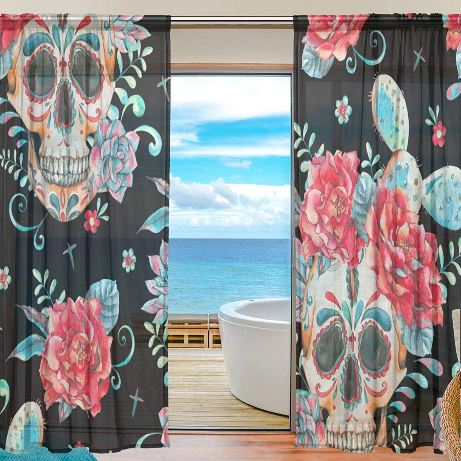 Skull pink 2 Pieces Curtain Panel 55 x 78 inches for Bedroom Living Room