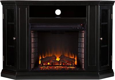 SEI Furniture Claremont Convertible Electric Storage Corner Fireplace, Black