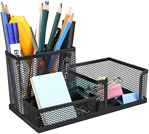QUICK UNBOX 3 Compartment Metal Mesh Desk Organizer Stationary Storage Stand Pen, Pencil Holder for Office, Home, and...