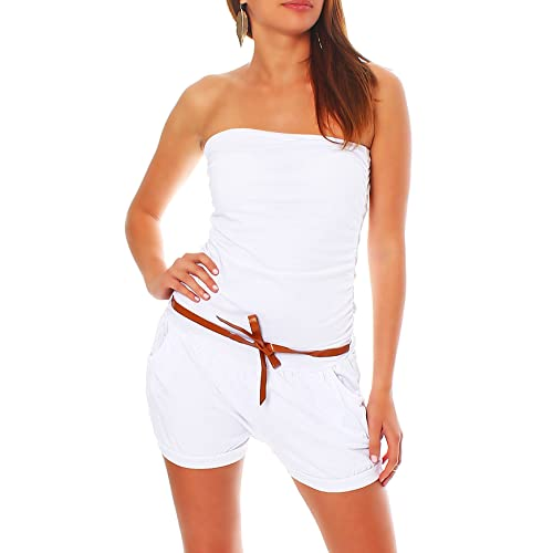 f08933970d Malito Short Jumpsuit with Belt Playsuit Sleeveless Romper Party Bandeau  Elegant 8964 Women One Size