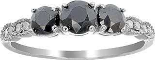 1 CT 3 Stone Black Diamond Ring With Milgrain Sterling Silver