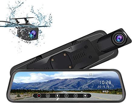 $99 Get AWESAFE Mirror Dash Cam 10 Inch Touch Screen 1080P Rear View Mirror Camera Front and Rear Dual Lens Backup Camera with G Sensor 24 Hours Parking Monitor