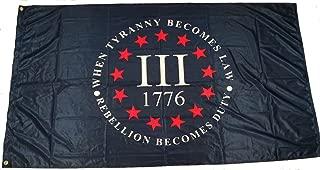 Miltacusa Three 3% Percenter Rebellion Tyranny 3 x 5 Feet 110g Knitted Heavy Duty Tyranny Flag