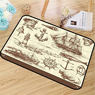 "Durable door mat Marine Navy Captains Will not fade Ocean Retro Drawing Effect Framed Design W30""x L40"""