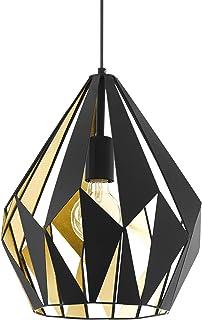 EGLO Carlton 1 - Lámpara de techo, estilo retro, de acero, color negro, dorado, casquillo E27, diámetro de 31 cm
