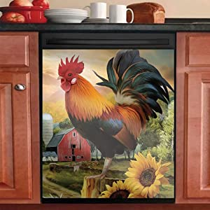 Animal Dishwasher Cover Magnetic Decorative Sticker Rooster Sunflower Kitchen Decor Chicken Refrigerator Panel Decal Magnet 23in W x 26in H