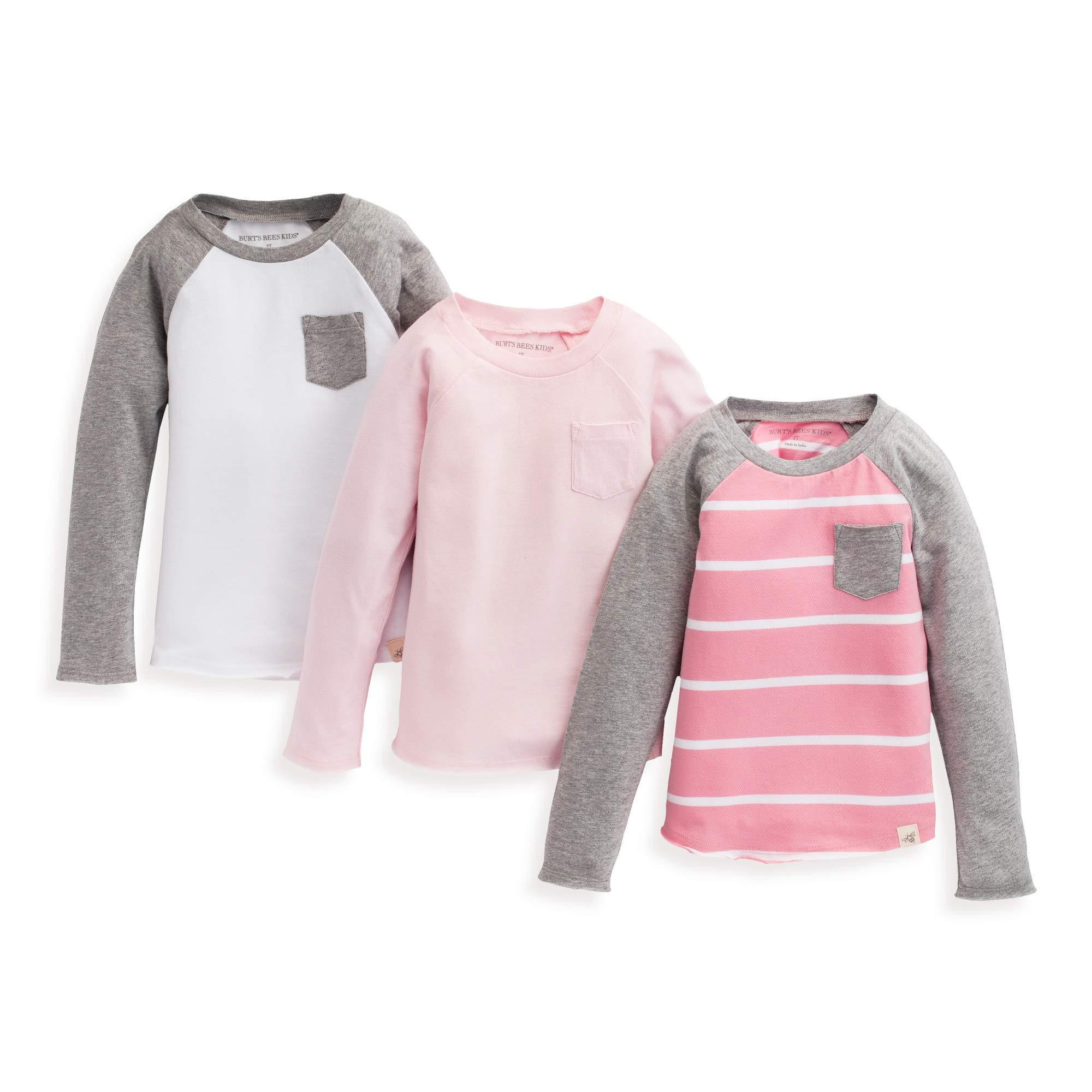 Burt's Bees 女婴幼童 T 恤,3 件装短袖 V 领圆领 T 恤