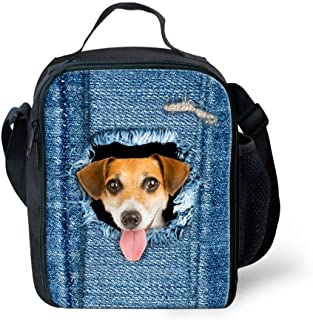Cute Animal Denim Cat dog Lunch Bag insulated Picnic Food Bag