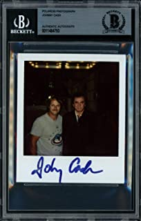Johnny Cash Autographed Signed 3.5x4 Polaroid Photo Singer Beckett BAS 11484793