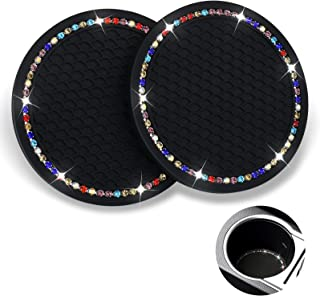 2PCS Bling Car Cup Coasters , Shiny Rhinestone Car Cup Holder Coasters, 2.75 Inch Non-Slip Car Insert Cup Coasters Vehicle Interior Accessories for Keeping Auto Car Cup Holders Dry and Clean (Black)
