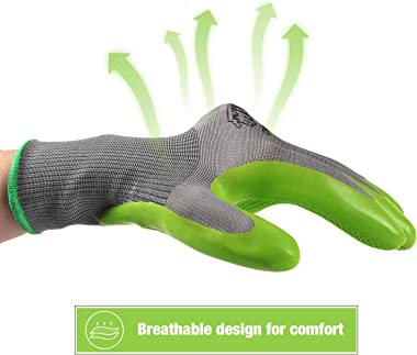 WORKPRO 6 Pairs Garden Gloves, Work Glove with Eco Latex Palm Coated, Working Gloves for Weeding, Digging, Raking and Pruning