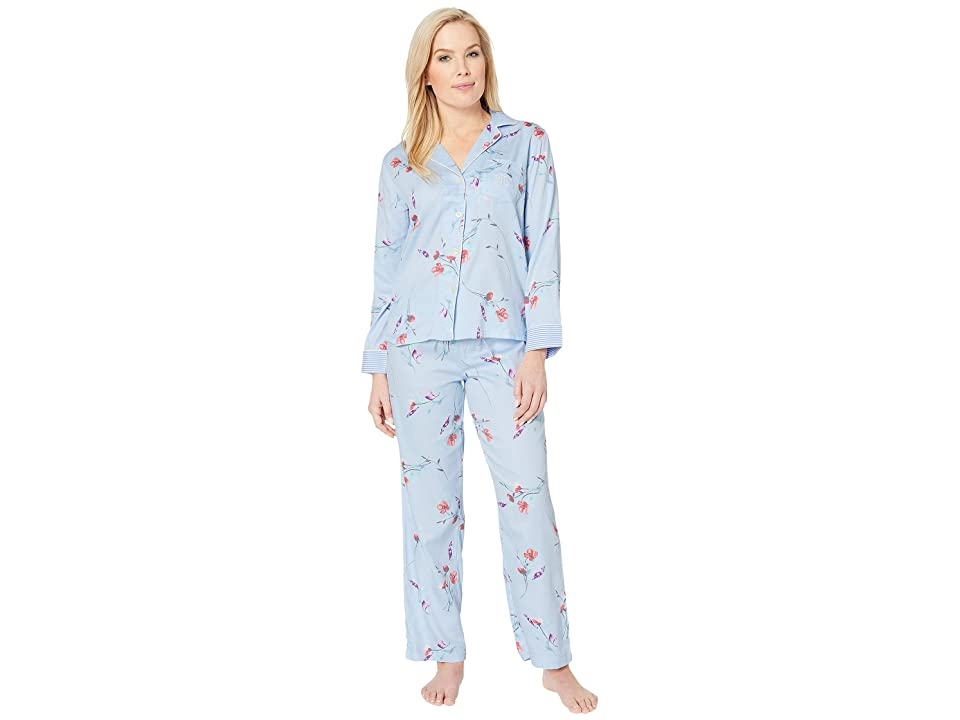 LAUREN Ralph Lauren Petite Pointed Notch Collar Pajama Set (Blue Floral Print) Women