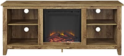 Walker Edison Wren Classic 4 Cubby Fireplace TV Stand for TVs up to 65 Inches, 58 Inch, Barnwood Brown