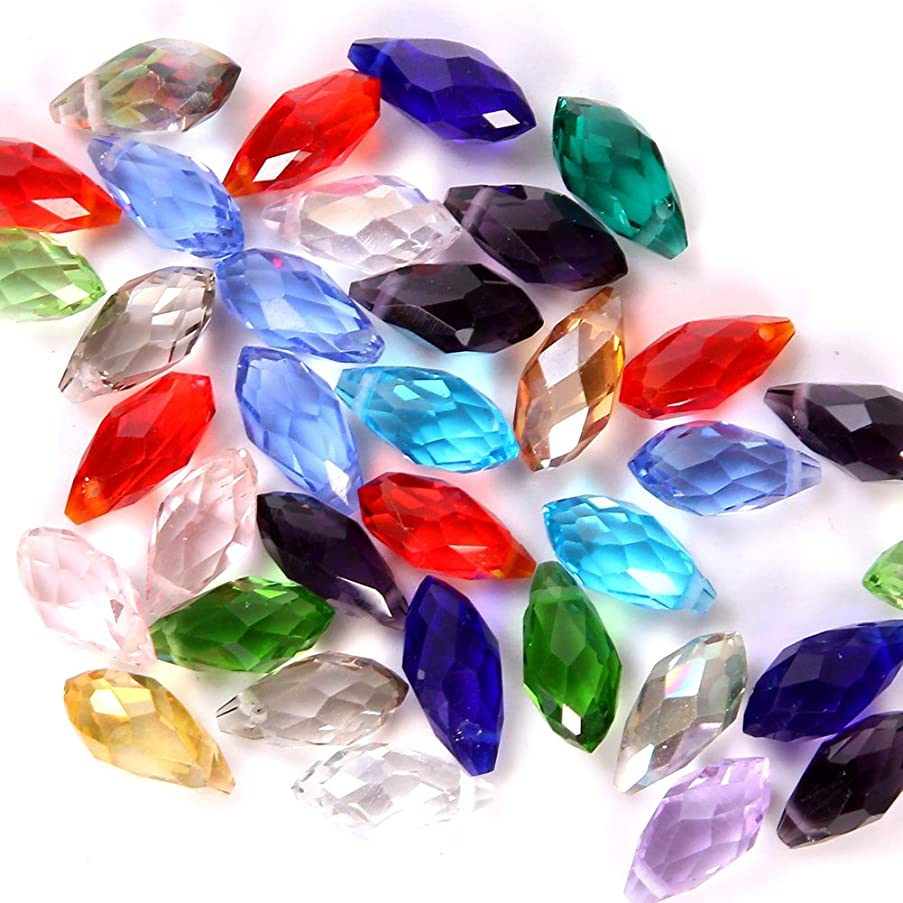 Bingcute Mixed Color 100pcs 6x12mm Wholesale Drilled Austria Crystal teardrop beads