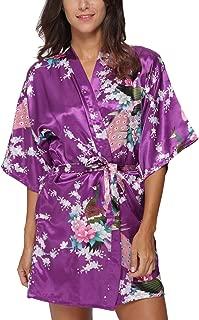 Women's Kimono Robe Satin Floral Peacock Bathrobe Short Silk Bridal Nightwear