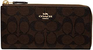 Coach L-Zip Leather Wallet in Signature Brown/Black - #F39673