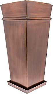 H Potter Tall Planter Indoor Outdoor Flower Container Antique Copper with Drip Tray
