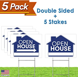 """Open House Real Estate Signs – [Upgraded] 5 Double Sided Blue Property Yard Sign Bulk Pack & 5 Heavy Duty Rust Free H Wire Stakes – Large Directional Arrows - 18""""x 24"""" Realtor Agent Supplies"""