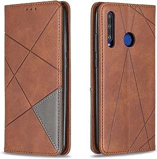 携帯電話レザーケース Huawei P Smart 2019 / Honor 10i(Honor 20 lite)のホルダーとカードスロットを備えた菱形テクスチャ水平フリップ磁気レザーケース レザーケース (色 : Brown)