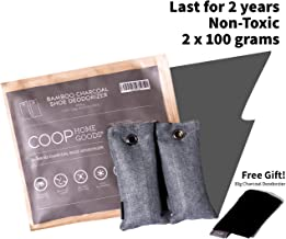 Coop Home Goods - Natural Moso Bamboo Charcoal Air Purifying Bags - 100g (2 Pack) - Deodorizer for Shoes, Boots, Gym Bag, Boxing Gloves, Closet Freshener - Free 30g Travel Sachet