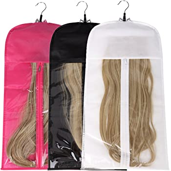 Hair Extensions Storage Bag With Wooden Hanger Carrier Case With Strong Durable Zipper