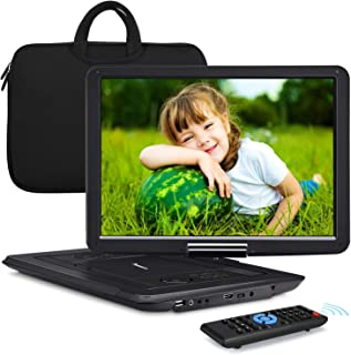 "NAVISKAUTO 16"" Portable DVD Player with Large Screen Free Carry Bag Rechargeable Battery Support HDMI Input, 1080P Video, ..."
