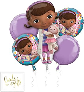 Andaz Press Balloon Bouquet Party Kit with Gold Cards & Gifts Sign, Doc Mcstuffins Foil Mylar Balloon Decorations, 1-Set