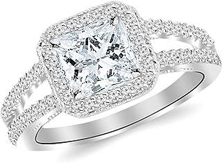1.22 Ctw 14K White Gold GIA Certified Princess Cut Designer Split Shank Halo Style with Milgrain Diamond Engagement Ring, 0.75 Ct D-E VVS1-VVS2 Center