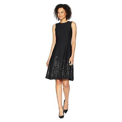 Calvin Klein Embroidered A-Line Hem Dress CD8C57NT (Black) Women