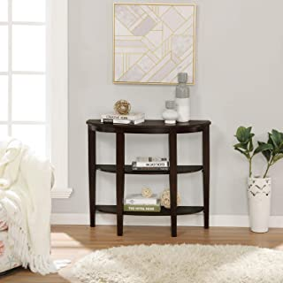 Console Table, Sofa Table for Entryway, Semi-Circle Sofa Side Table with Shelves and Solid Wood Legs, 3 Tier Entry Table for Hallway, Living Room, Bedroom, Espresso