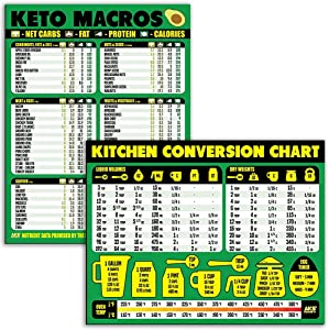 """Keto Diet Cheat Sheet and Kitchen Conversion Chart Magnet Combination Bundle - Extra Large Easy to Read 11"""" x 8.5"""" Reference Guides for Ketogenic Foods and Cooking, Baking & Recipe Unit Conversions"""