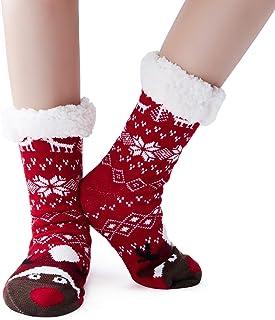 RAISEVERN, Calcetines navideños antideslizantes para niños Calcetines lindos de copo de nieve de punto Calcetines de invierno Niños Niñas Calcetines gruesos forrados con forro polar Sherpa
